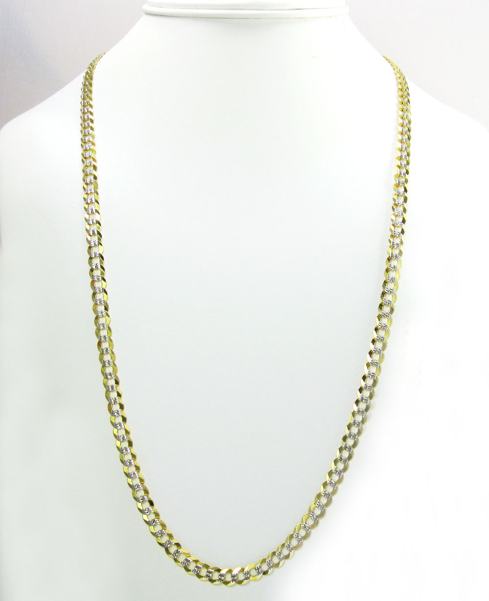 10k yellow gold solid diamond cut cuban chain 18-40 inch 5.7mm