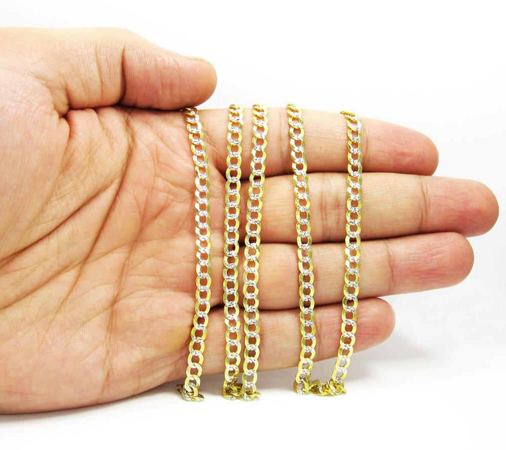 10k yellow gold diamond cut cuban chain 20-30 inch 4.6mm
