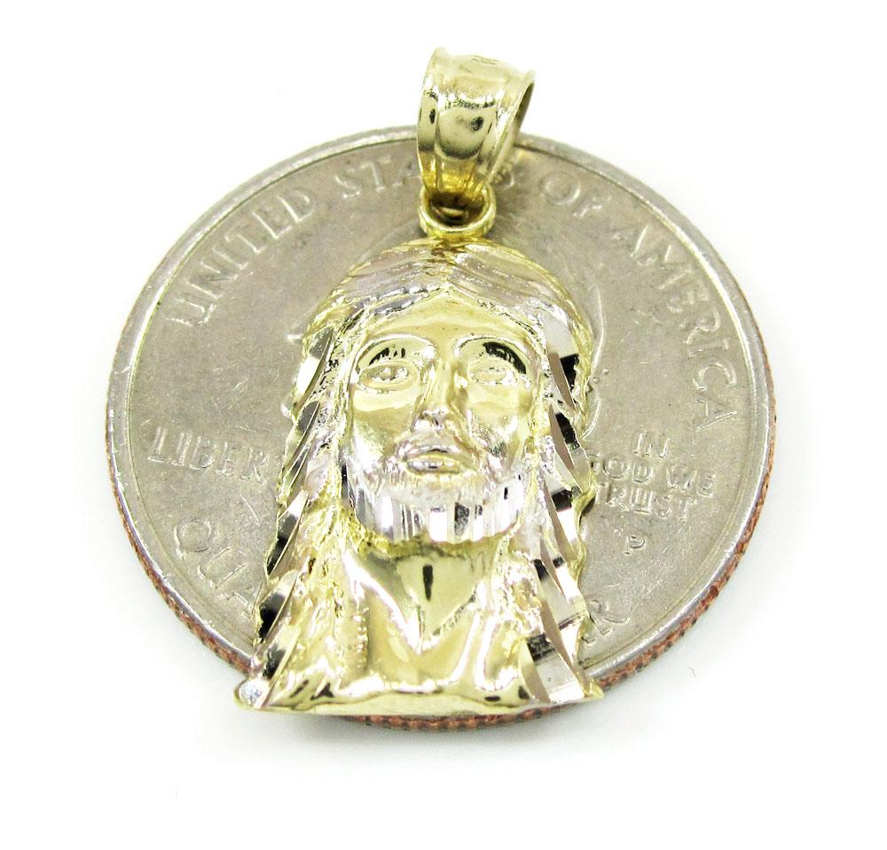 10k two tone gold diamond cut mini jesus face pendant