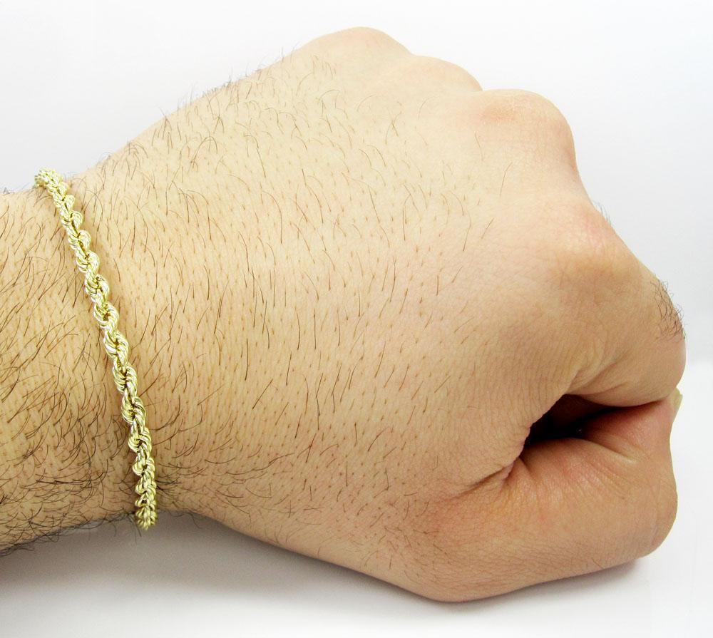 10k yellow gold rope bracelet 7 inch 4mm
