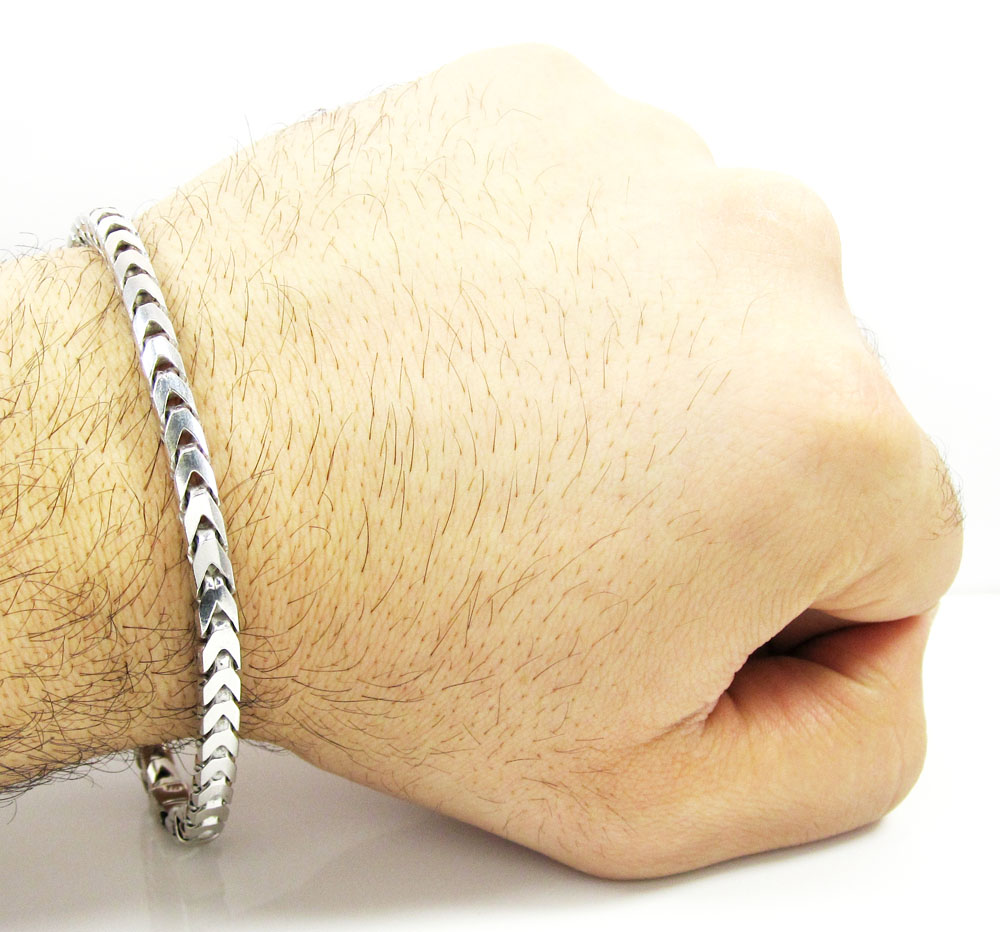 10k white gold franco bracelet 9.5 inch 5mm
