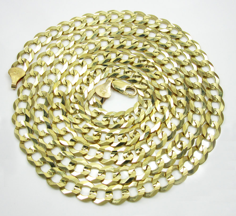 10k yellow gold thick cuban chain 26-40 inch 8mm
