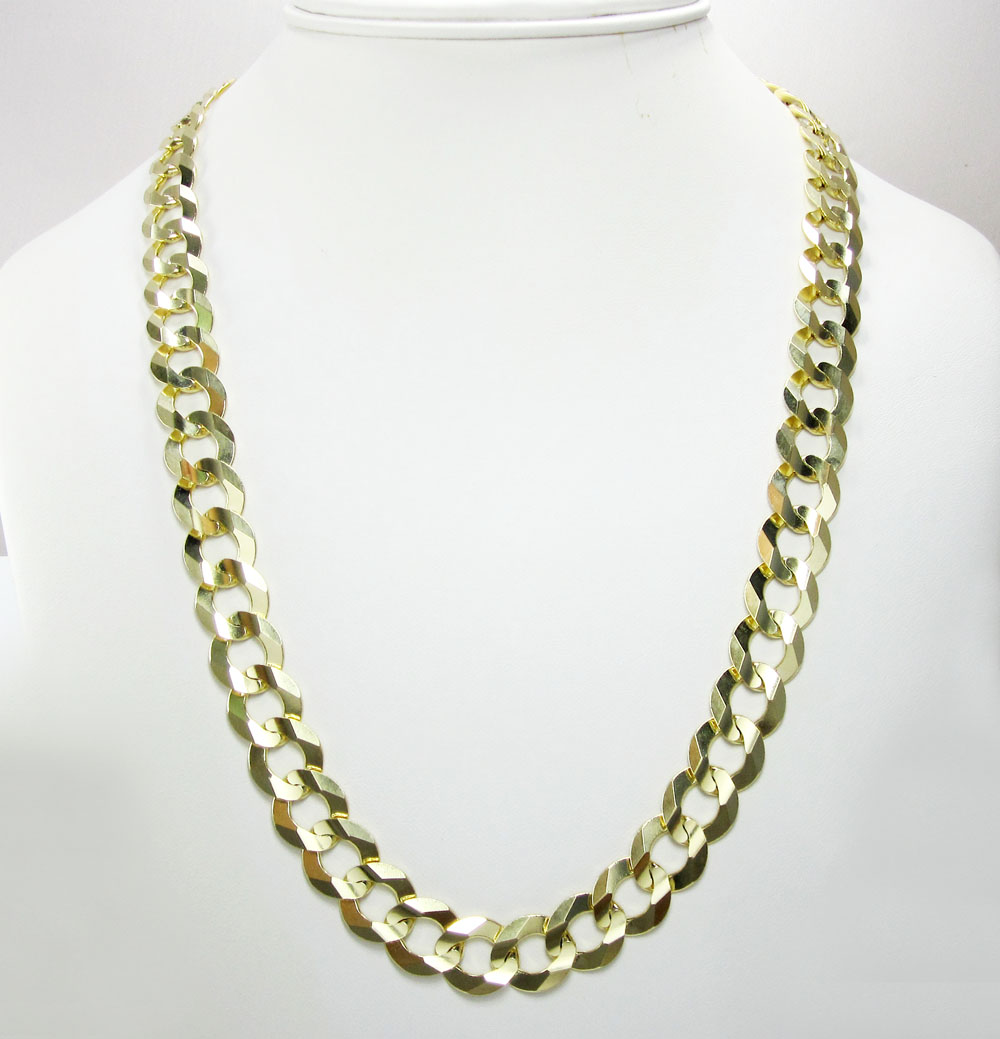 10k yellow gold thick cuban chain 26-36 inch 12.5mm