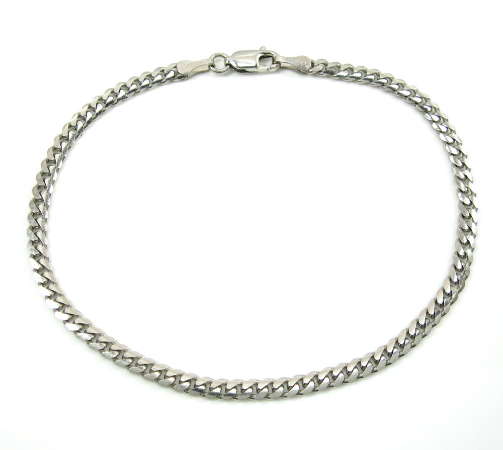 10k white gold miami bracelet 8.25 inch 3.30mm