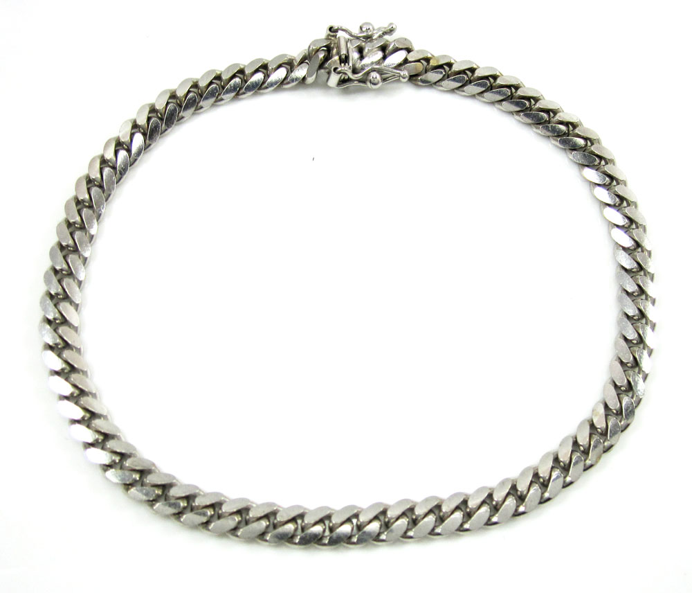 10k white gold solid miami bracelet 8.50 inch 5mm