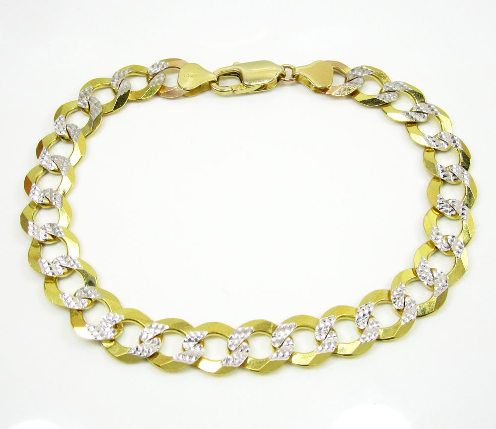 10k yellow gold diamond cut cuban bracelet 9 inch 9.50mm