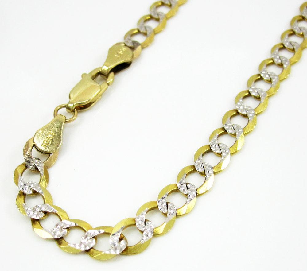 10k yellow gold diamond cut cuban bracelet 8 inch 5mm