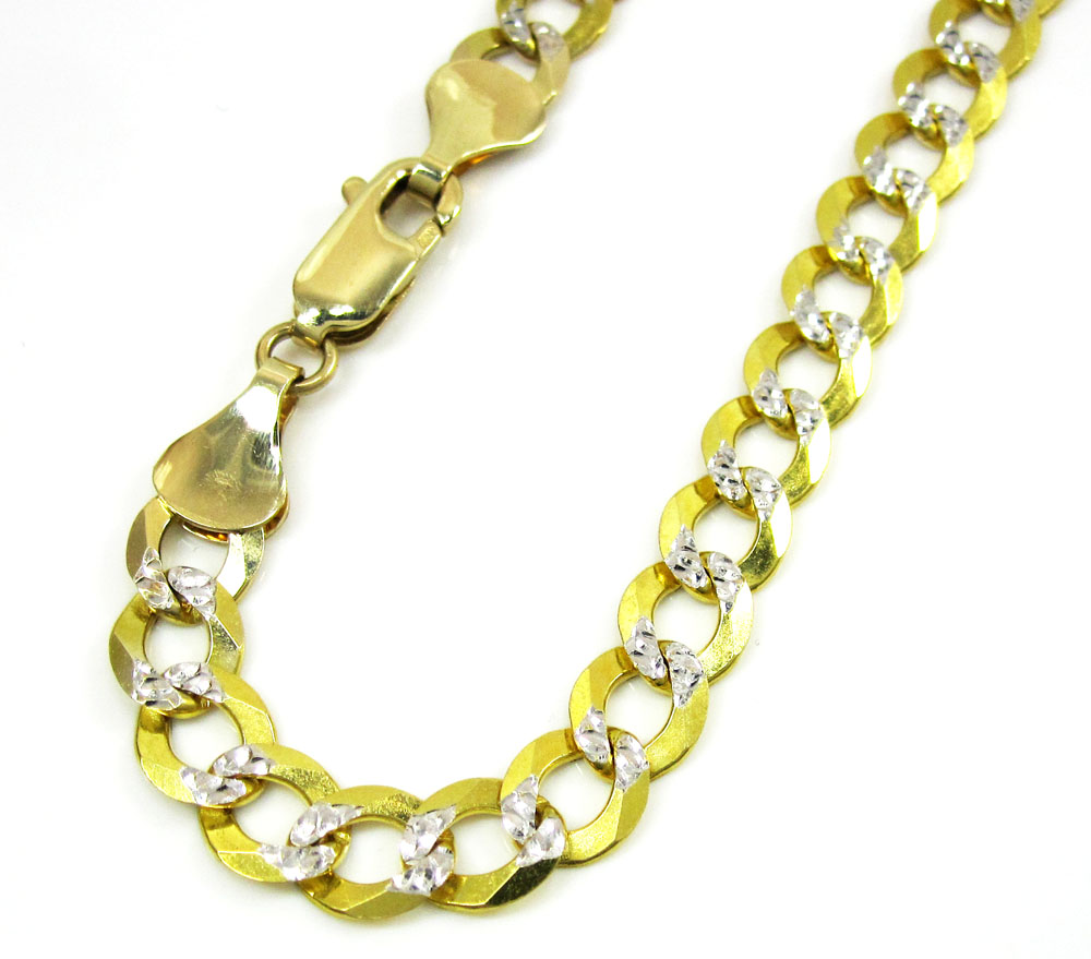 10k yellow gold diamond cut cuban bracelet 8.25 inch 5.75mm