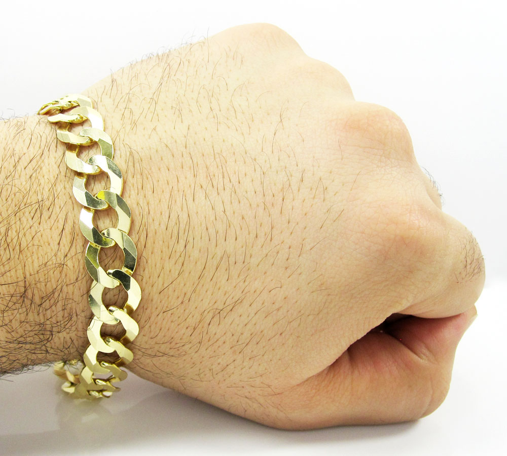 10k yellow gold large cuban bracelet 8.75