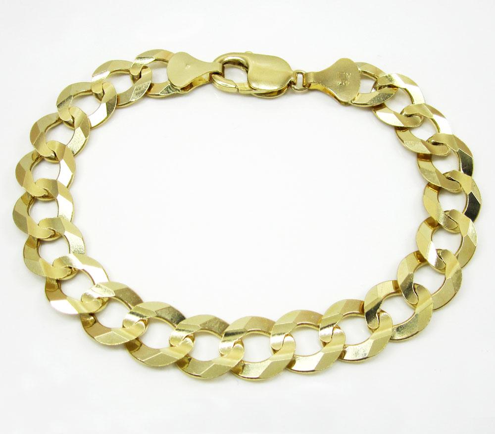 10k yellow gold cuban bracelet 9 inch 11.50mm