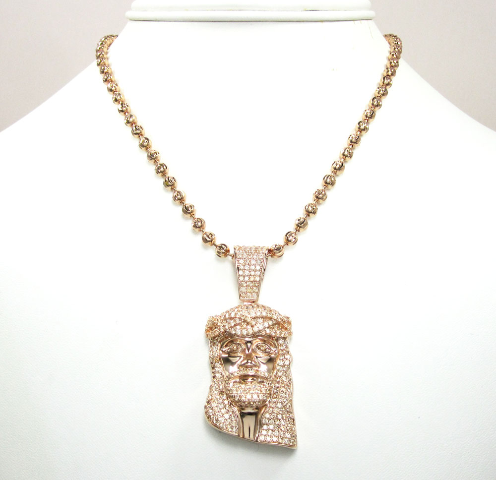 Rose sterling silver jesus face champagne cz pendant with chain 10.00ct