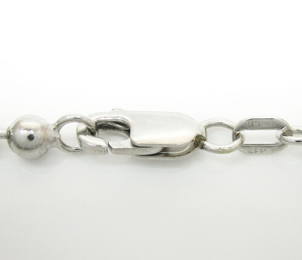 10k white gold combat bead link chain 24-36 inch 4mm