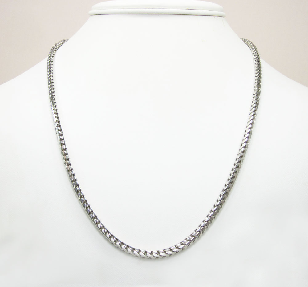 14k white gold solid franco link chain 20-30 inch 3.3mm