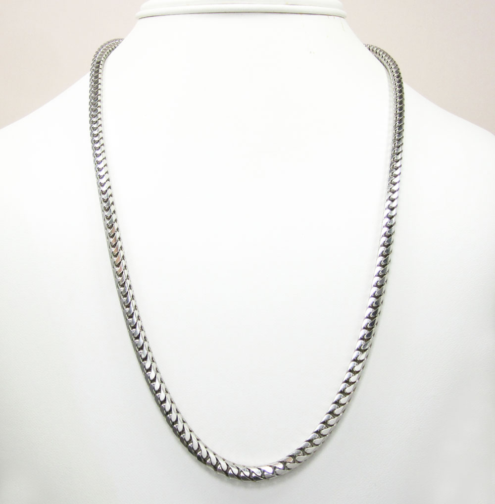 14k white gold solid tight franco link chain 22-30 inch 4.3mm