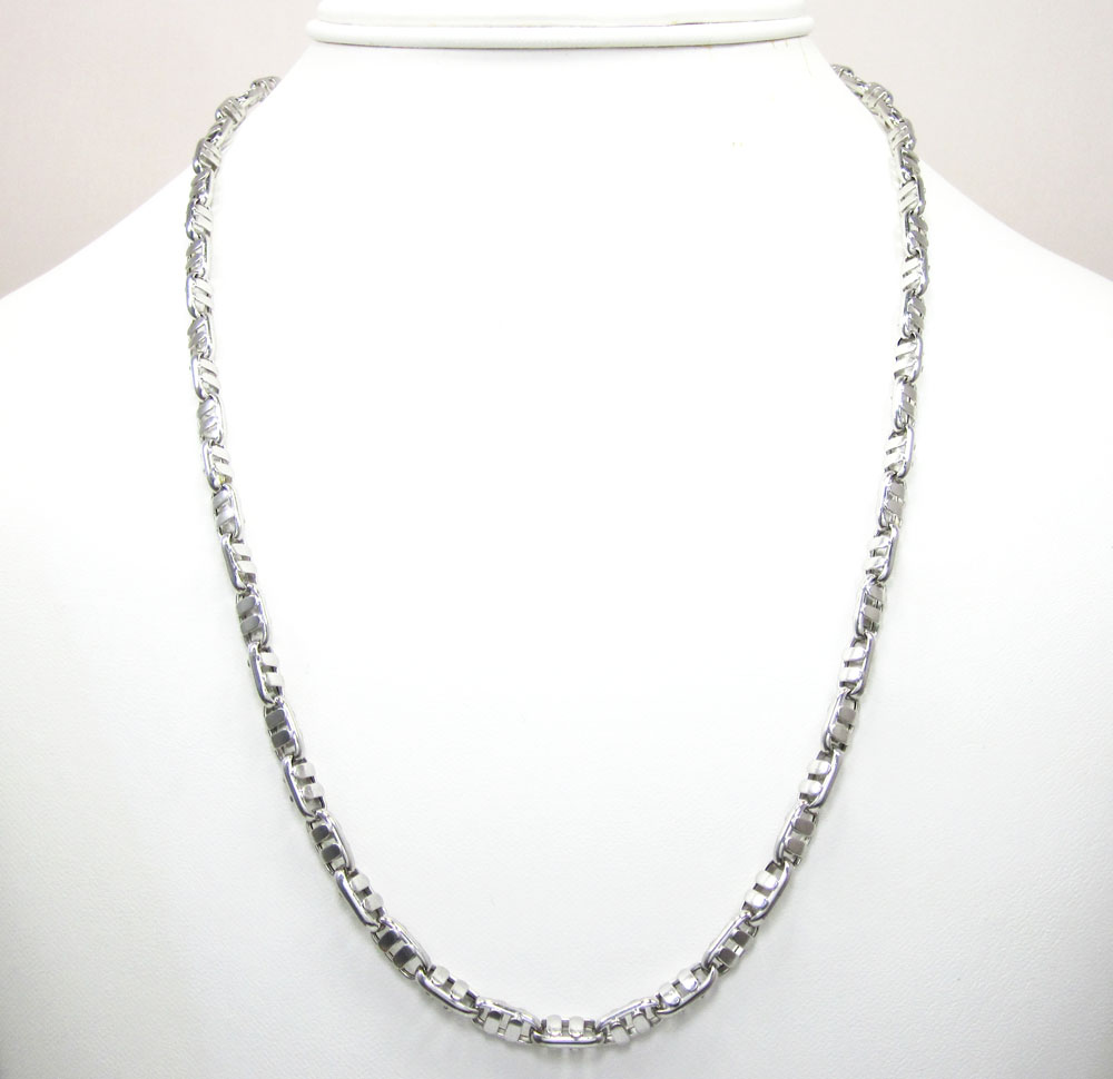 14k white gold fancy anchor link chain 20-24 inch 4.7mm