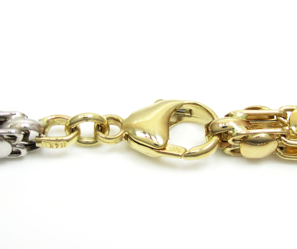 14k two tone gold fancy box link chain 22-26 inch 5.5mm