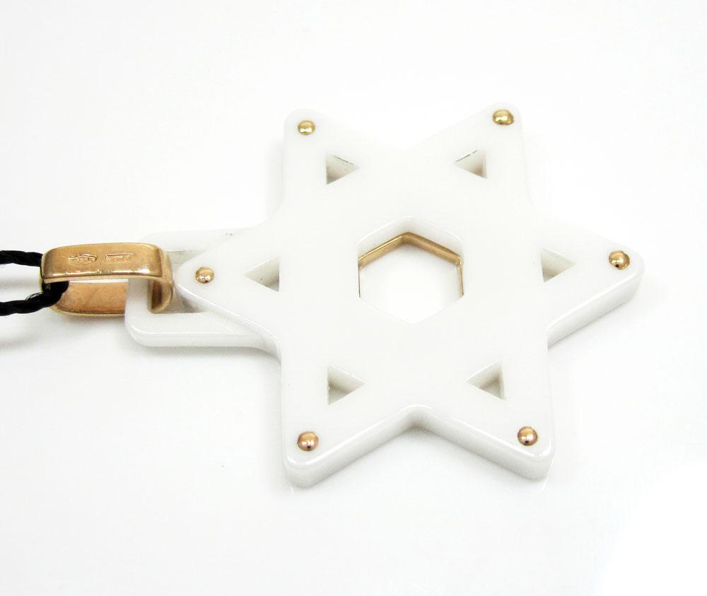 Baraka 18k rose gold white ceramic jewish star of david pendant