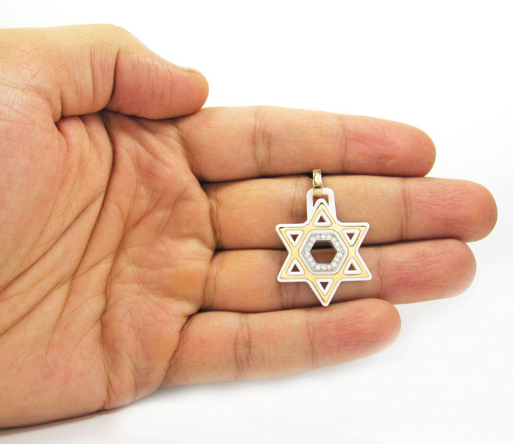 Baraka 18k rose gold white ceramic jewish star of david diamond pendant 0.18ct