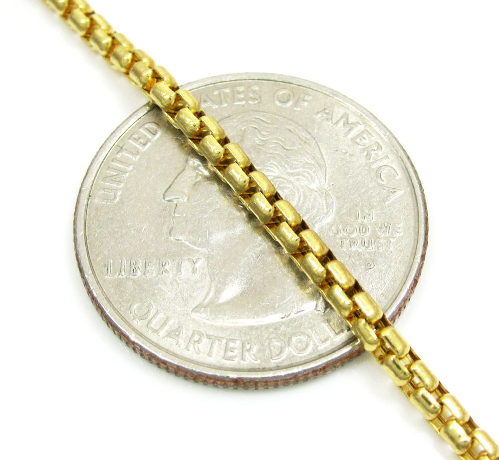 14k yellow gold solid box link chain 16-30 inch 2.5mm