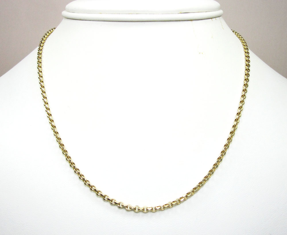 14k yellow gold solid circle link chain 16-30 inch 2.5mm
