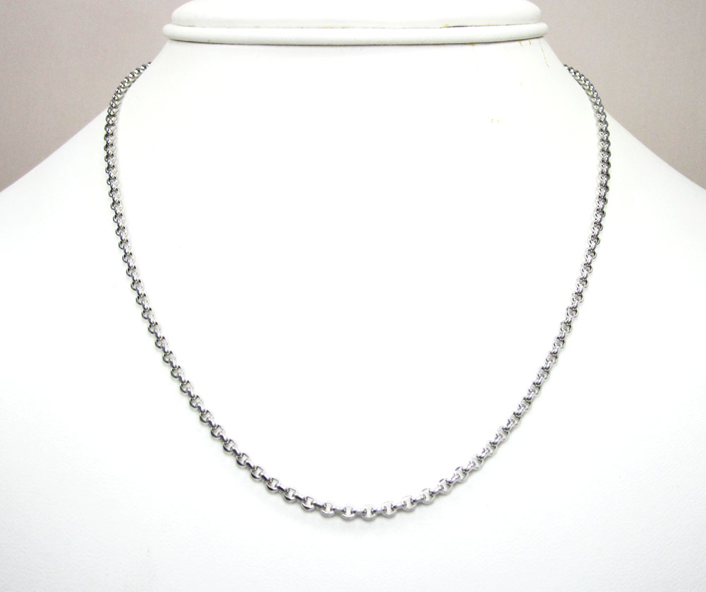 14k white gold solid circle link chain 16-30 inch 2.5mm