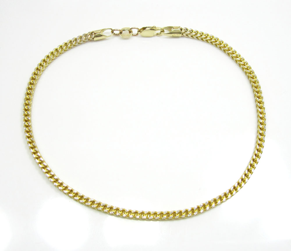 10k yellow gold diamond cut franco link bracelet 8 inch 2.2mm