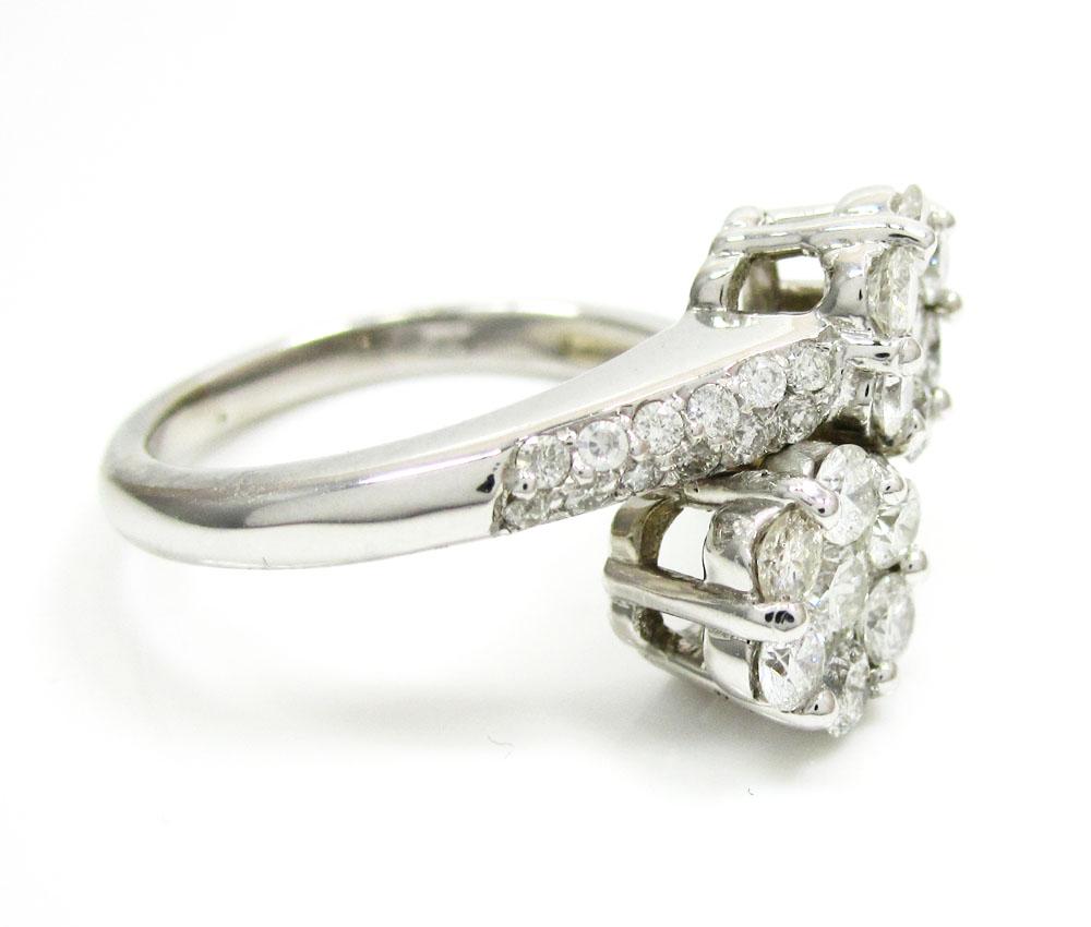 Ladies 14k white gold round diamond double cluster ring 1.20ct