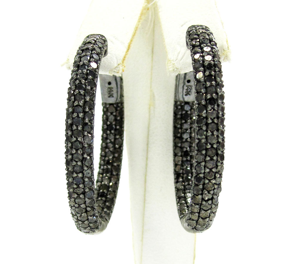 14k black gold black diamond round hoops 7.00ct