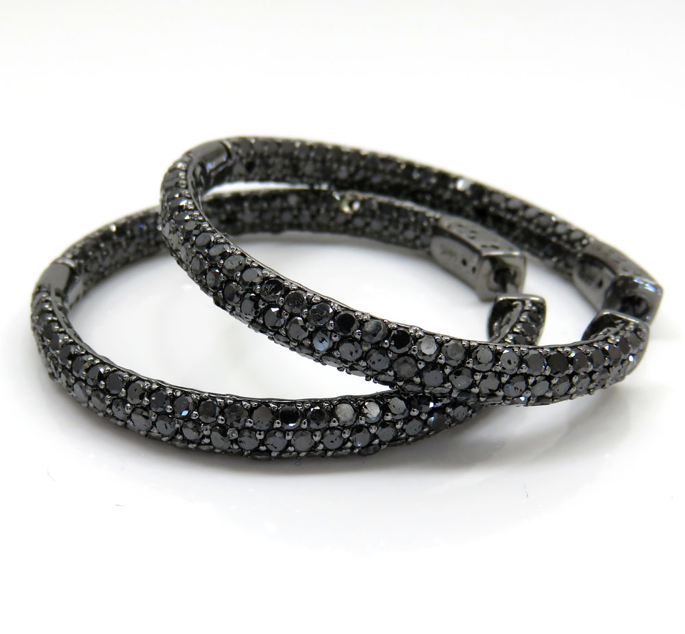 14k black gold black diamond round hoops 7.00ct
