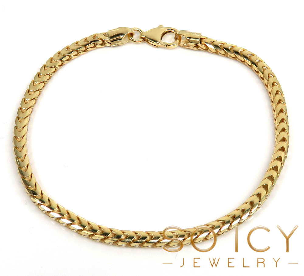 10k yellow gold solid franco bracelet 8.75 inch 3mm