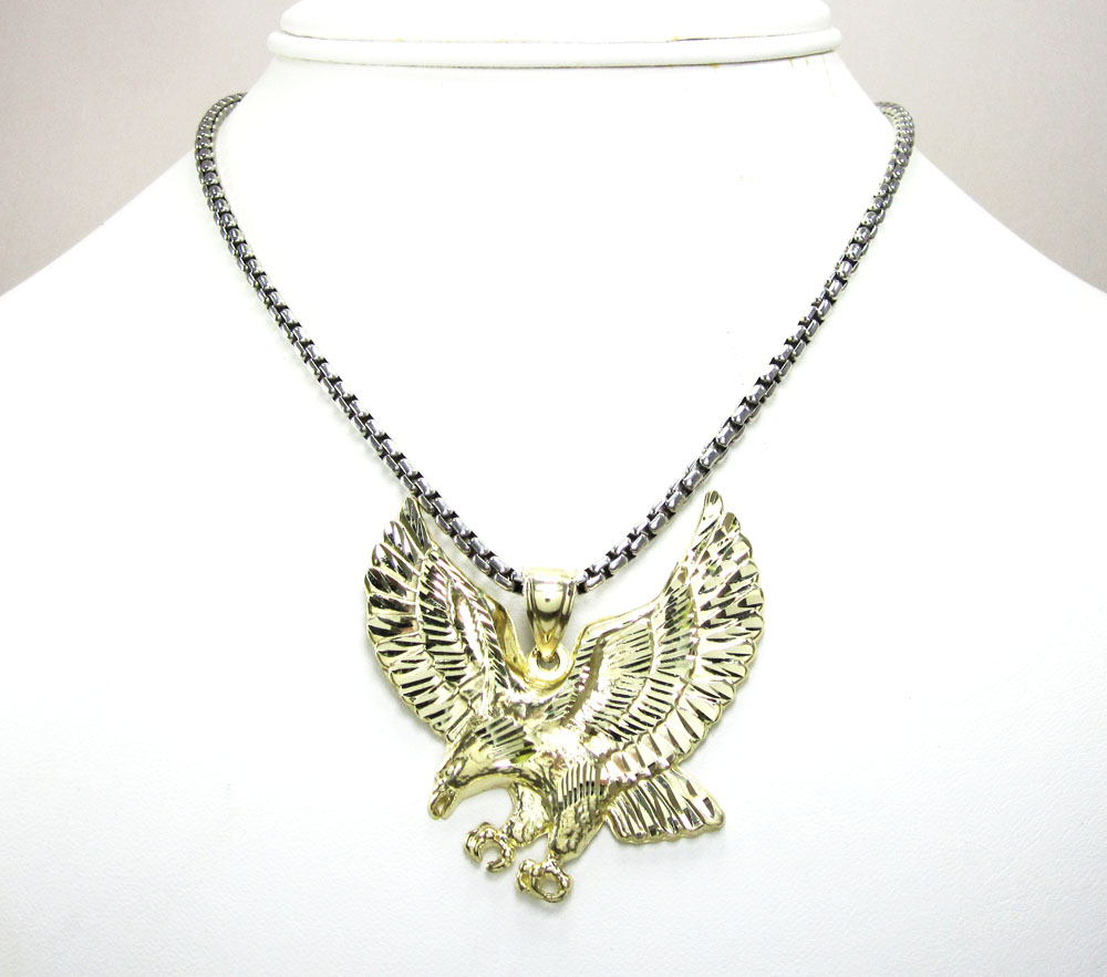 10k yellow gold diamond cut eagle pendant
