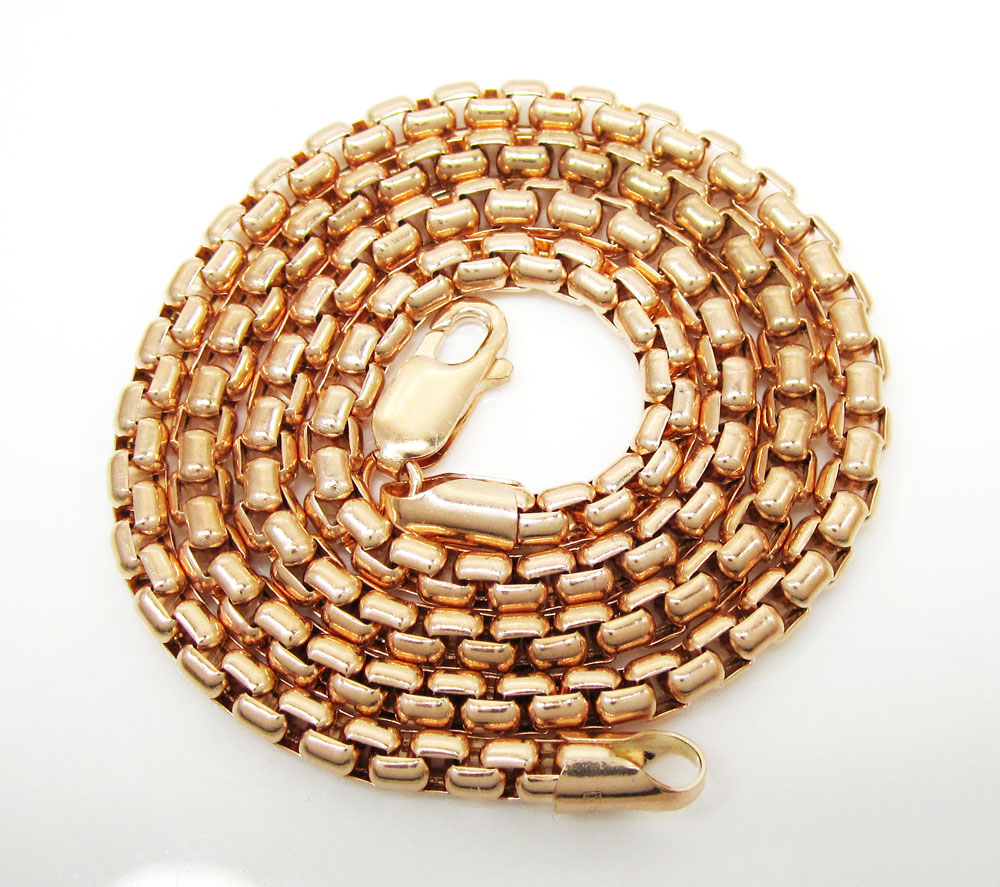 14k rose gold box link chain 16-30 inch 3.5mm