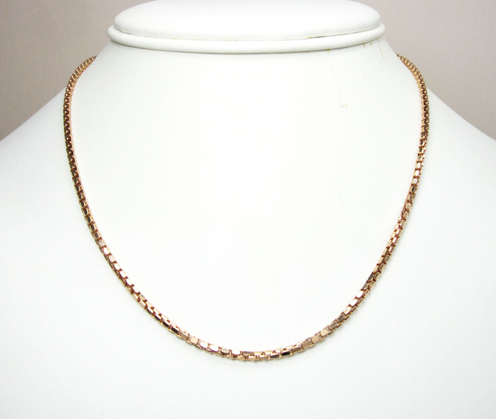 14k rose gold hexagon box link chain 16-30 inch 2.3mm