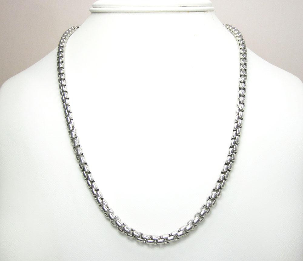 14k white gold box link chain 20-30 inch 5mm