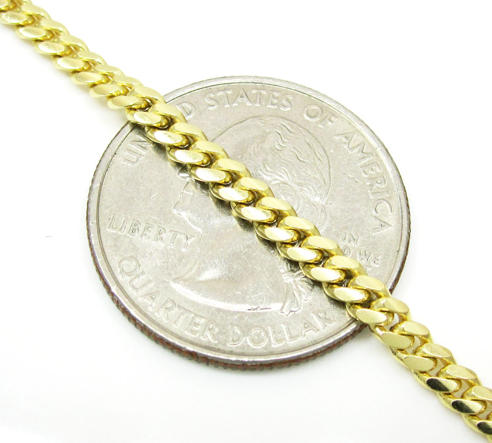 14k yellow gold solid tight miami link chain 16-26 inch 3.2mm