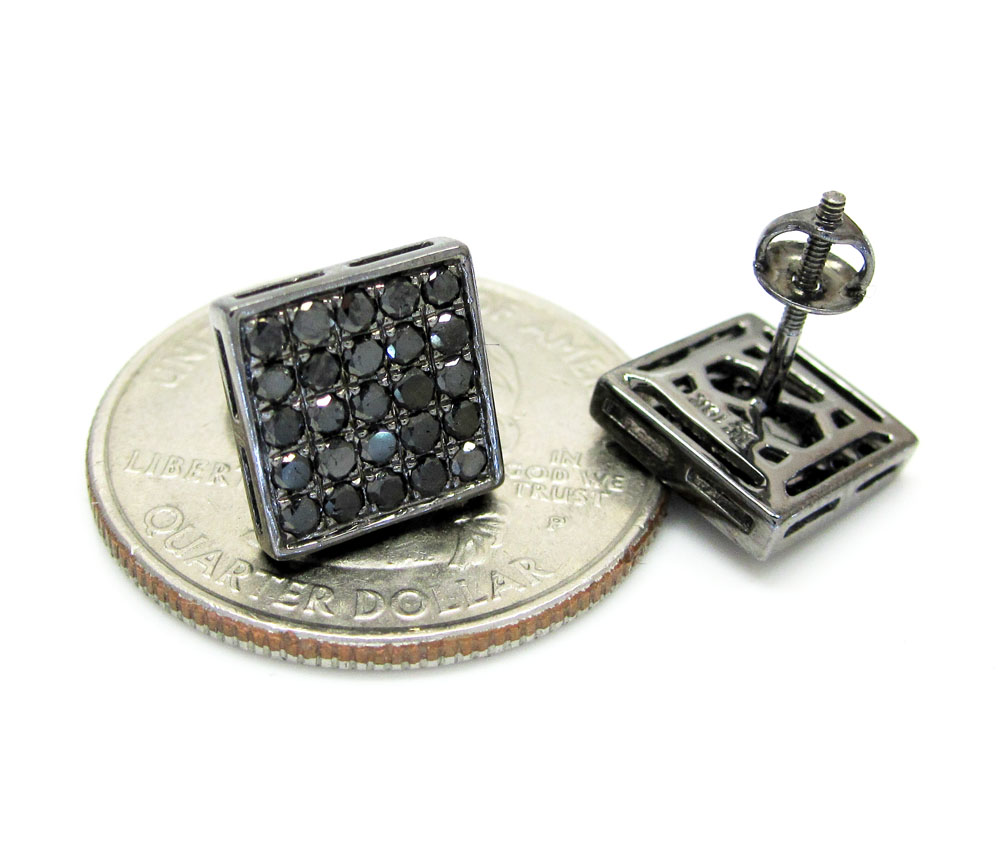 10k black gold black diamond earrings 1.00ct