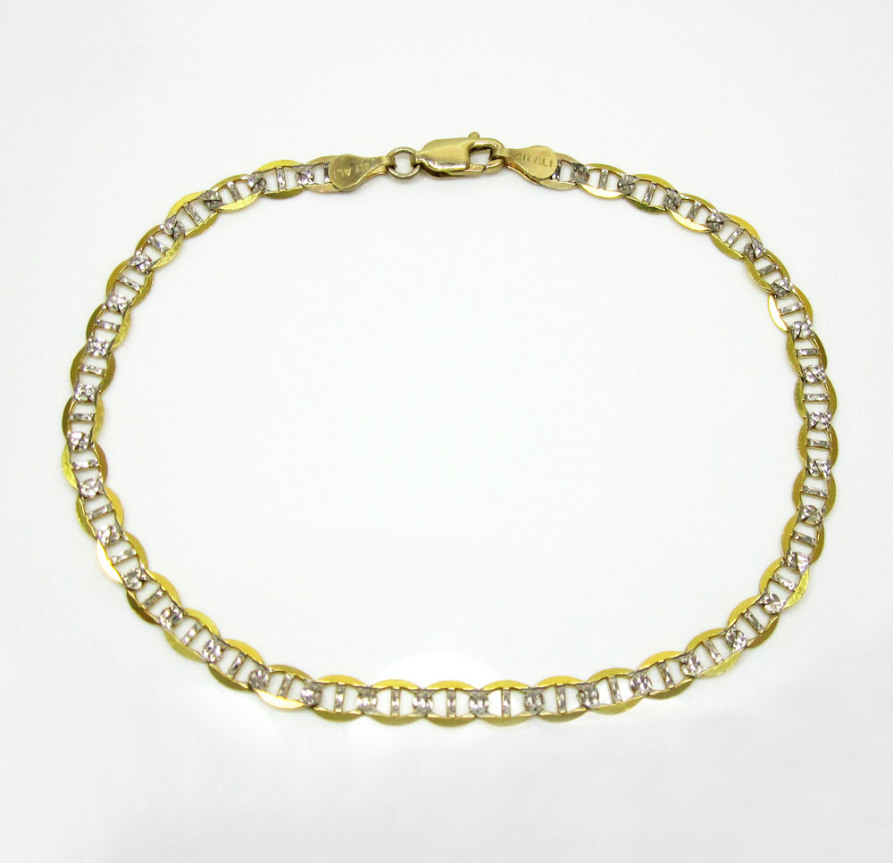 10k yellow gold solid diamond cut mariner bracelet 8.50 inch 4.2mm