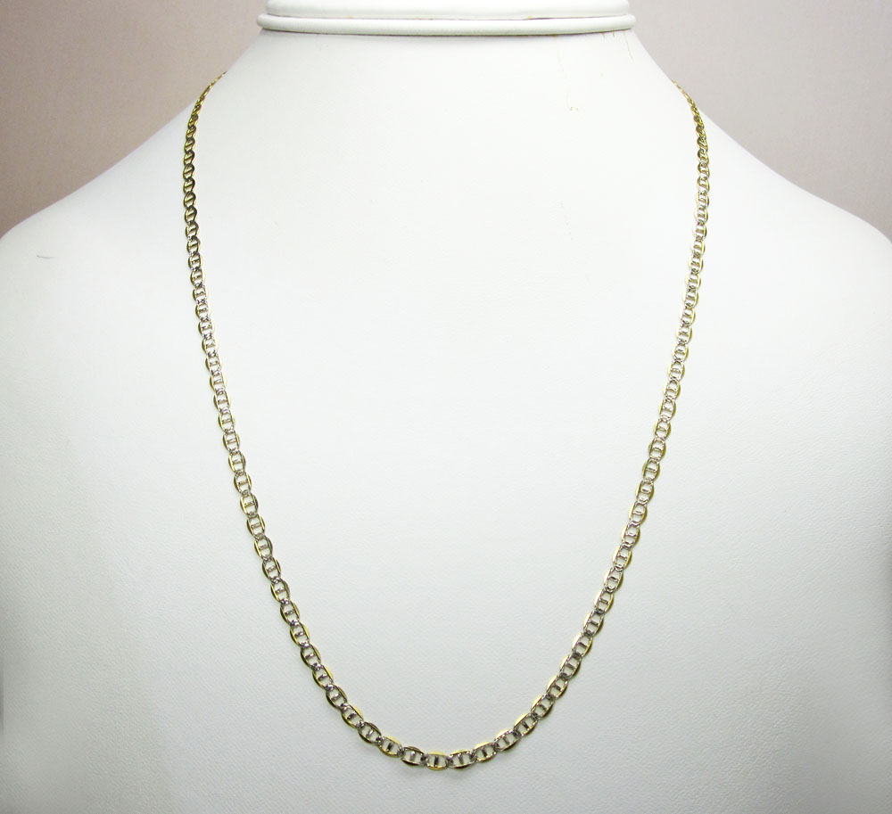 10k yellow gold solid diamond cut mariner link chain 16-22 inch 3mm
