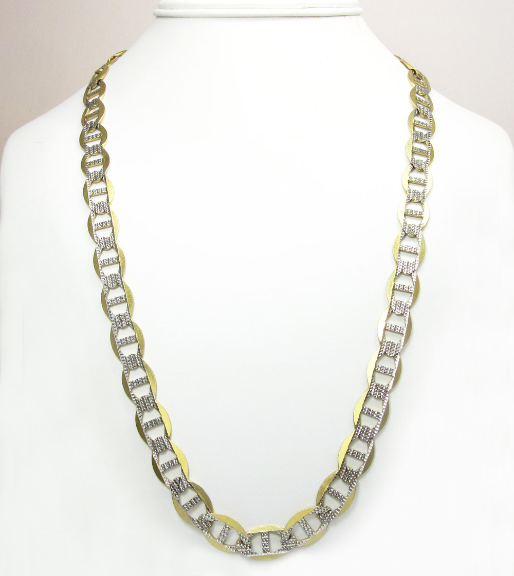 10k yellow gold solid diamond cut mariner link chain 24 inch 10.5mm