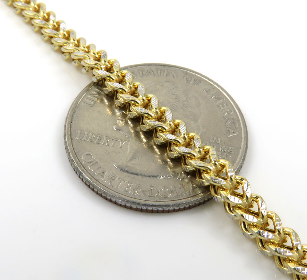 10k yellow gold solid diamond cut franco link chain 20-26 inch 3.50mm