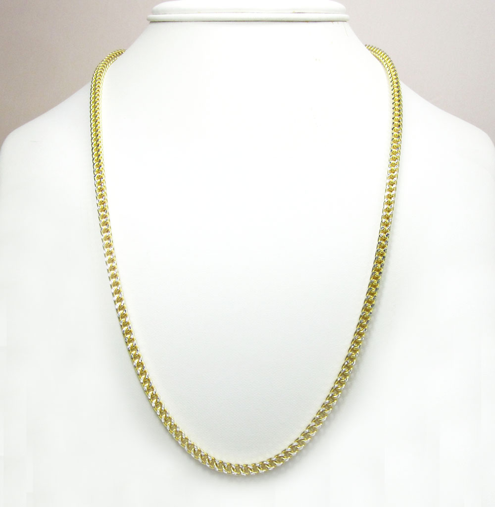 ba16510588e38 10K Yellow Gold Solid Diamond Cut Franco Link Chain 26-40 Inch 4.5mm