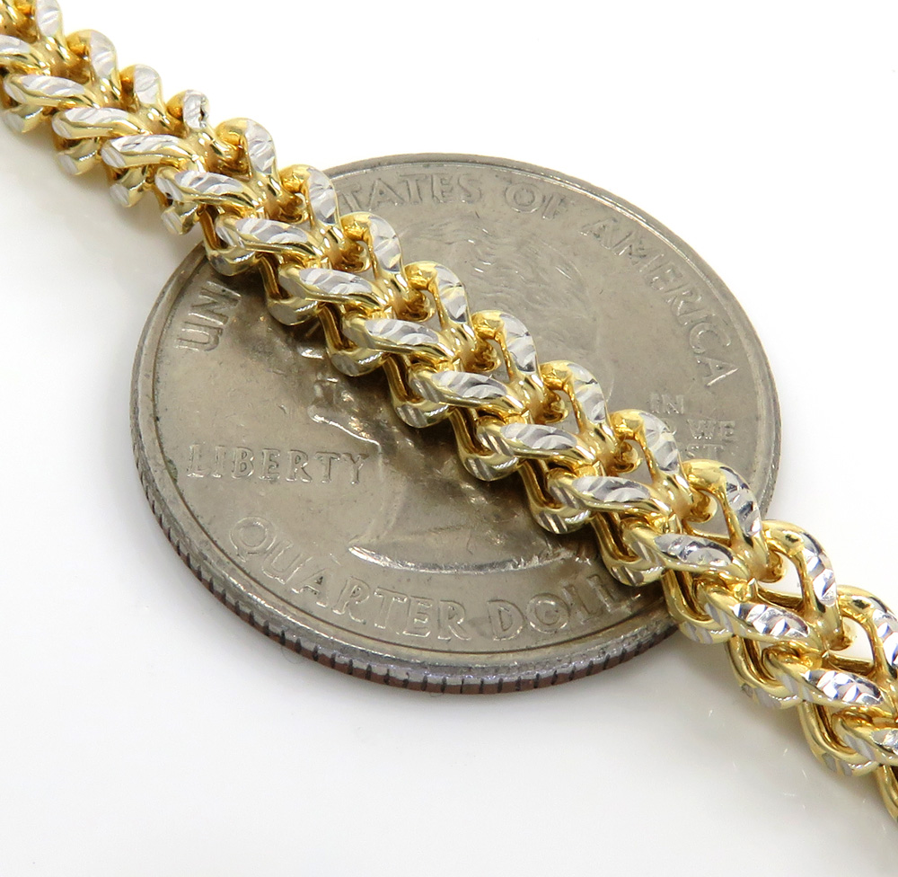 10k yellow gold diamond cut hollow franco link chain 20-30