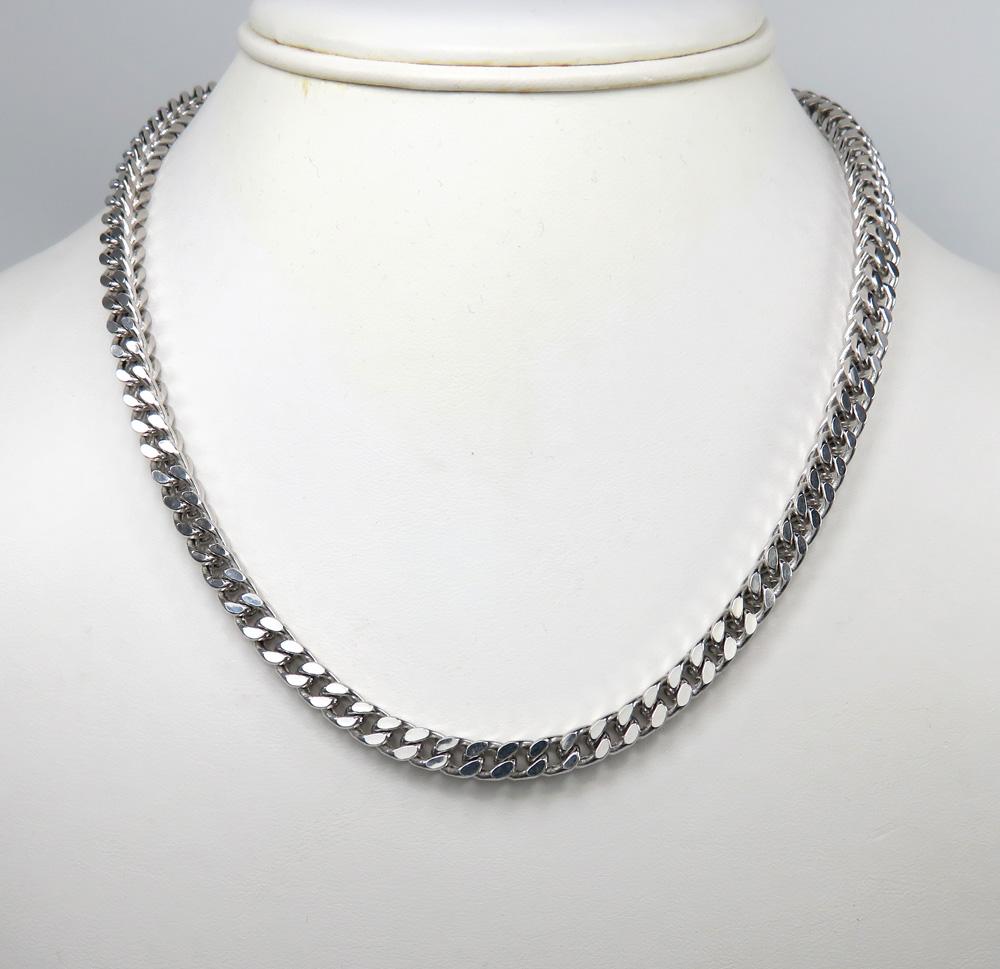 10k white gold diamond cut franco link chain 26-30 inch 6.5mm