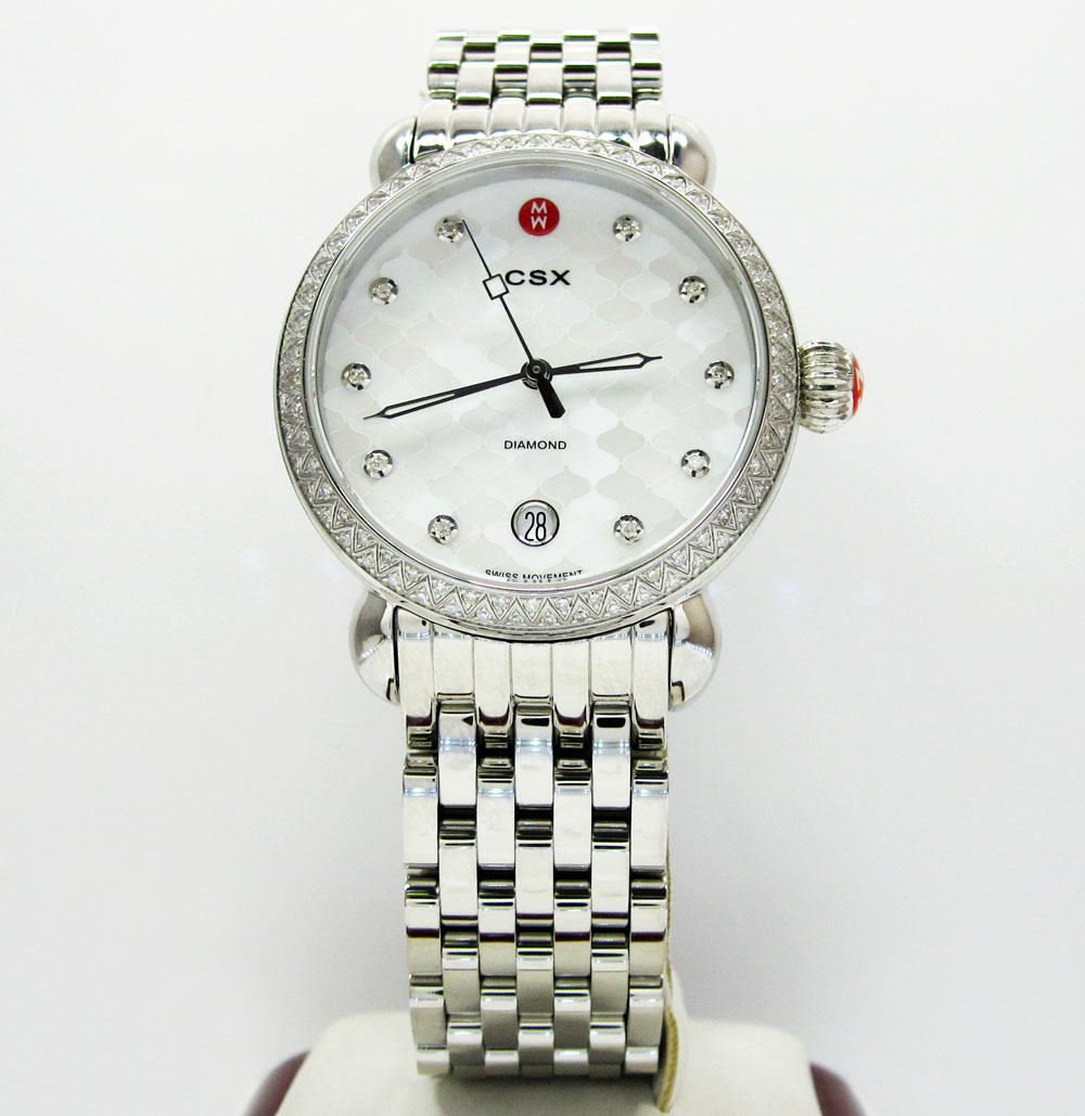 Ladies michele signature csx-36 diamond white stainless steel watch 0.64ct