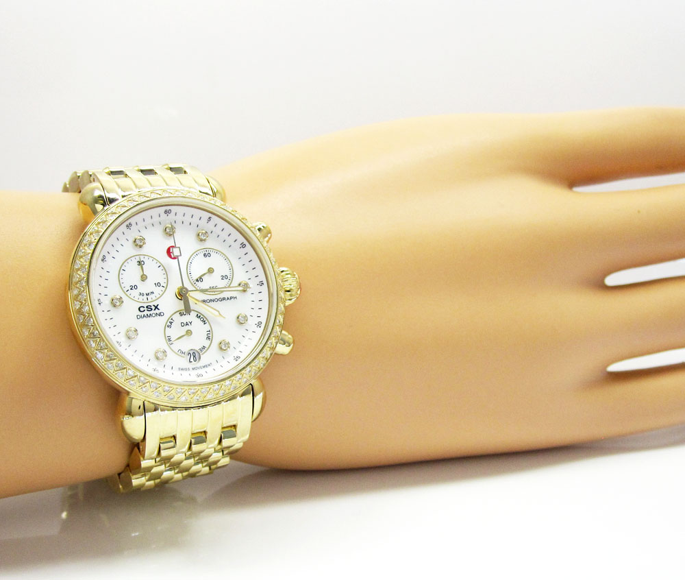 8f739eac72987 Ladies Michele Signature CSX-36 Diamond Yellow Stainless Steel Watch 0.64CT