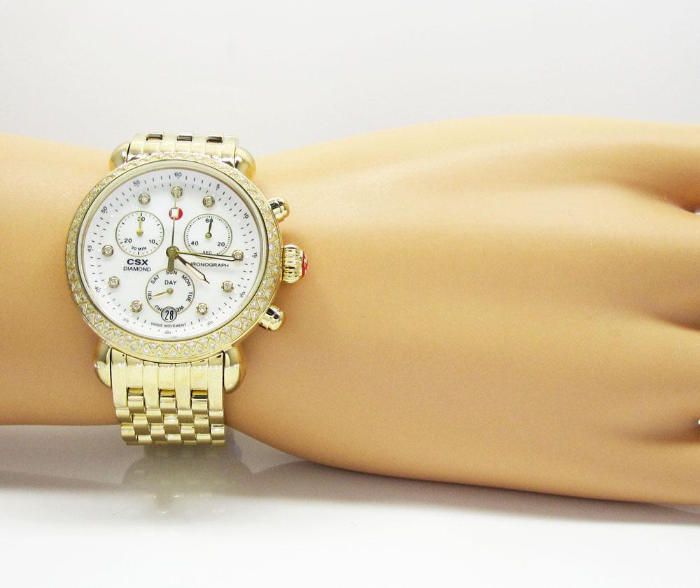 7e6ed9fad06c Ladies Michele Signature CSX-36 Diamond Yellow Stainless Steel Watch 0.64CT