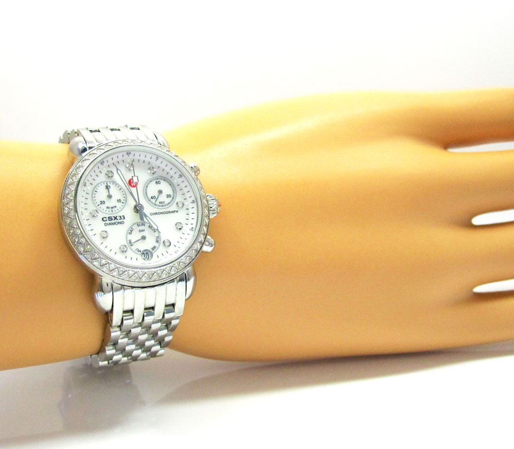 834c50f6c760 Ladies Michele Signature CSX-36 Diamond White Stainless Steel Watch 0.64CT
