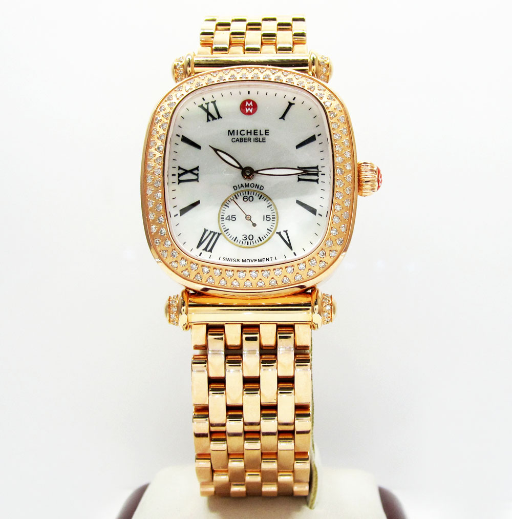 Ladies michele caber isle diamond rose stainless steel watch 0.58ct