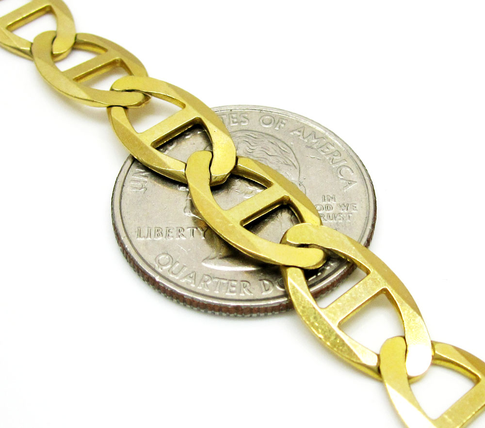 10k yellow gold solid mariner link chain 22-30 inch 9.3mm