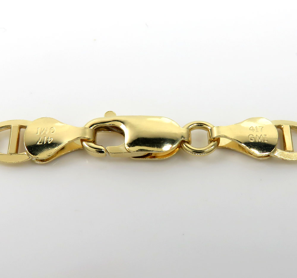 10k yellow gold solid mariner link chain 22-26 inch 6.3mm